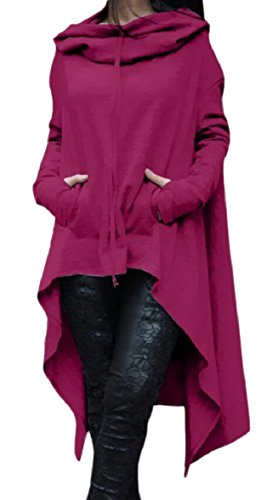s Women QianQian AU Top Hoodie Hem Drawstring Long Irregular Casual Dress Purple Oqqw5TE
