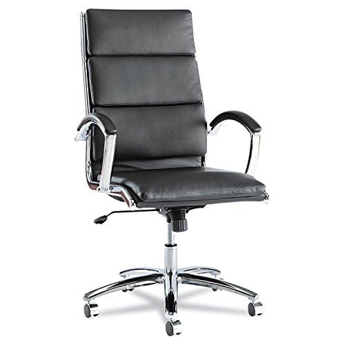 Alera ALENR4119 Neratoli Series High-Back Swivel/Tilt Chair, Black Leather, Chrome Frame