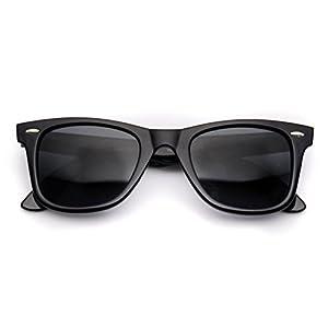 WearMe Pro - Classic Dark Lens Small Horn Rimmed Sunglasses