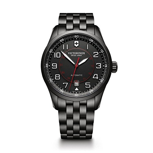 - Victorinox Men's Airboss Black Edition Automatic-self-Wind Aviator Watch with Stainless-Steel Strap, 21 (Model: 241740)