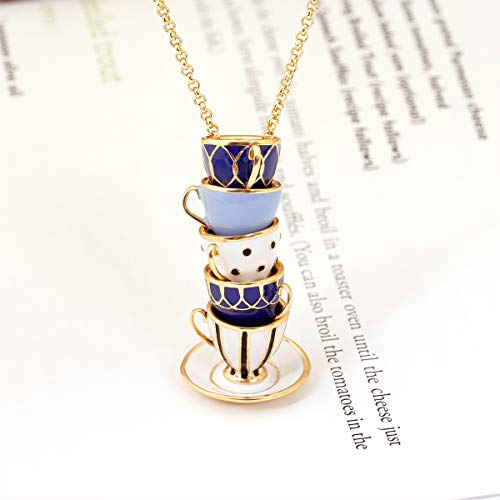 (Juicy Grape Long Necklaces for Women, Elegant Teacup Sweater Pendant Necklace)