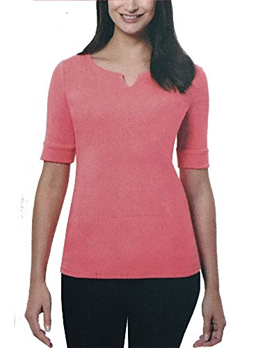 Ellen Tracy Ladies' Elbow Sleeve Top, XX-Large, Coral Pink