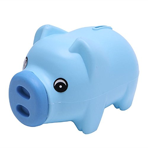 Blue Pig Piggy Bank Children Toys Bank, Boys Girls Coin Money Cash Saving Box For Kids Teens Adults Savings ()