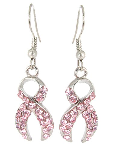 Lolo Jewelry Pink Crystal Breast Cancer Ribbon Fish Hook Earrings