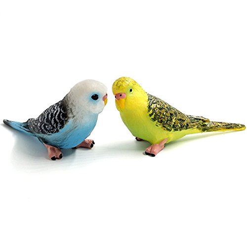 Yalulu 2Pcs Decorative Simulation Parrot Miniature Animal Model PVC Bird Figurine Fairy Craft Decoration