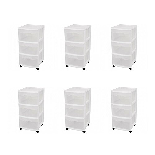 Sterilite 28308002 3 Drawer Cart, White Frame with Clear Drawers and Black Casters, 6-Pack