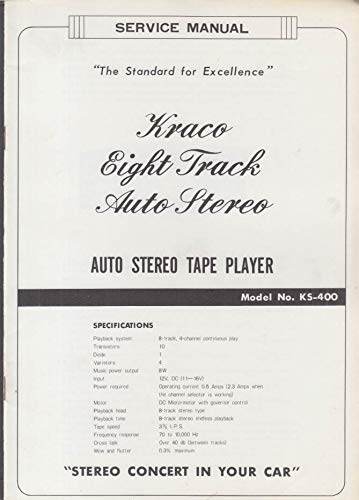 ORIGINAL Service Manual: Kraco 8-Track Auto Stereo Tape ... on