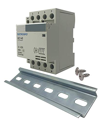 - Electrodepot 40 Amp 4 Pole Normally Closed Contactor, 110/120V Coil, Motor Load 20A, Lighting 40A Bundle with Slotted Steel Zinc Plated DIN Rail, 35mm x 6