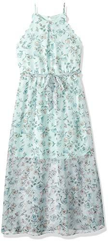 Amy Byer Girls' Big Scalloped Maxi Dress, Mint/Rose Geraniums 12 ()