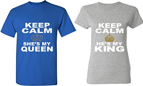 e1904dd59 Keep Calm She is My Queen & Keep Calm He is My King – Matching Couple Shirts  – His and Her T-Shirts – Tees