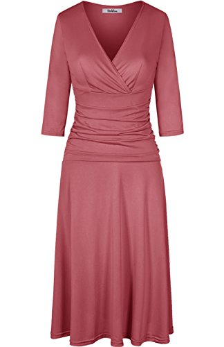 BodiLove Women's 3/4 Sleeve V-Neck A Line Business Casual Dress with Tummy Control Dusty Rose M