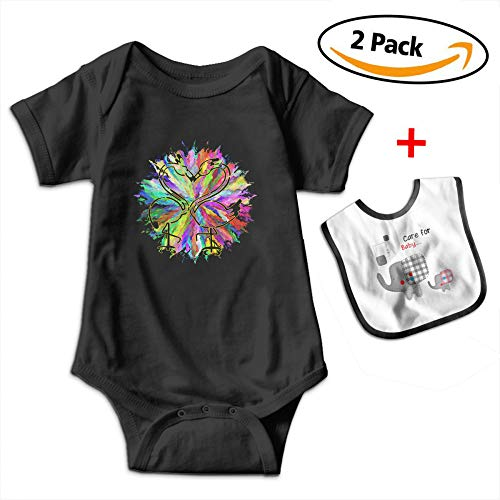Leopoldson Flamingo Couple Gifts Baby Short Sleeve Bodysuits Onesies with Baby Bib by Leopoldson