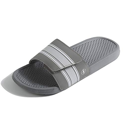 (FITORY Mens Slides, Adjustable Sandals with Arch Support Comfort Beach Slippers Grey,7/8 US)
