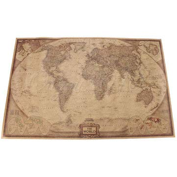 7146.5cm Brown Paper Antique World Map Wall Chart Poster - Decorative Crafts Collectibles - 1 x Brown Paper World Map -