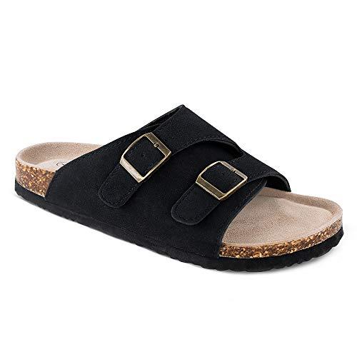 - TF STAR Women's Girl's Ladies Comfort Buckled Slip on Zurich Sandal Casual Soft Cork Footbed Platform Sandal Flat Open Toe Slide Shoe Black