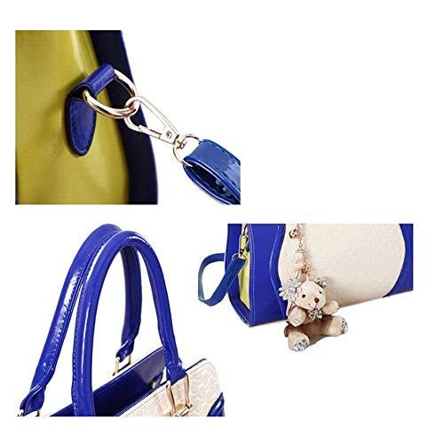 en pour Sac Petit coloré Porte Sac Taille Blue Dames à Moontang Noir à Main White clés Main Sac Cuir Verni Ours ztwzqC