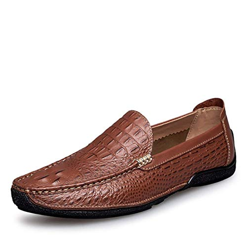 Casual Casual Casual Brown 9 Boy's UK on Dimensione 5 Colore ZHRUI ZHRUI ZHRUI ZHRUI Men's Slip Snake Elegante Loafers v0tnq