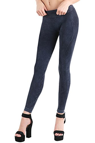 Denim Vintage Leggings (Nikibiki Womens Seamless Vintage Side Lined Leggings One Size Vintage Denim Blue)