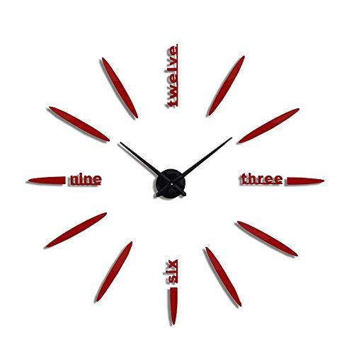 Clearance Sale!UMFun Modern Large 3D DIY Mirror Surface Art Wall Clock Sticker Home Office Room Decor (Red)