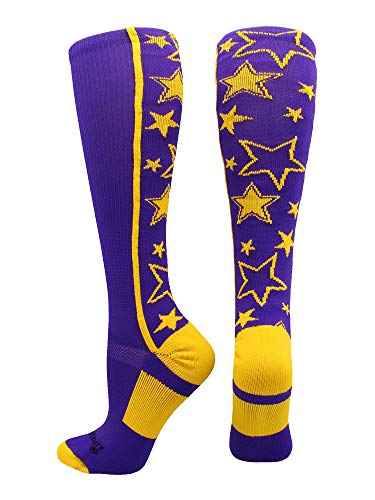 MadSportsStuff Crazy Socks with Stars Over The Calf Socks (Purple/Gold, Medium)