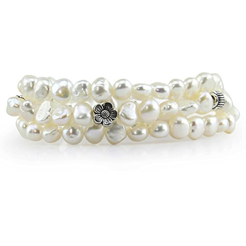 Genuine Freshwater Cultured Pearl 7-8mm Stretch Bracelets with Base Beads (Set of 3) 7.5