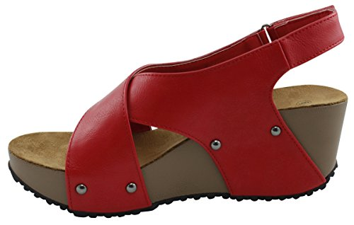 Cambridge Select Womens Open Toe Studded Crisscross Strappy Slingback Platform Wedge Sandal Red 5QT840Z