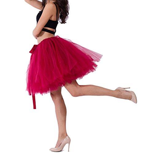 Haute Tulle Pettiskirt Rouge couche Jupe Multi Genou au en Femme Taille Ballet Vintage Wine Princesse Tutu qXaF7w
