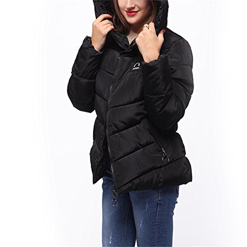 Para Corto Abrigo Negro Casual Mujer Honghu Flojo Larga Manga Capucha Encapuchado Con Outwear Chaquetas SqYwxP