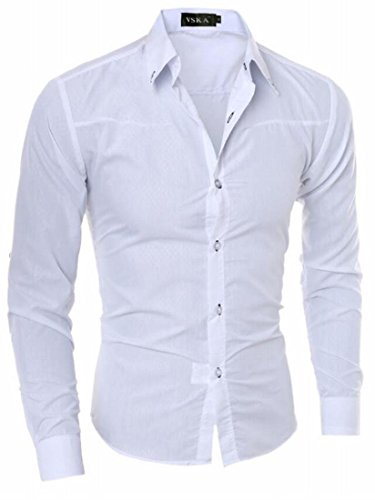 Cotton Solid UK White Button Down Mens Long today Sleeve Shirt Casual Color X6w7wq0