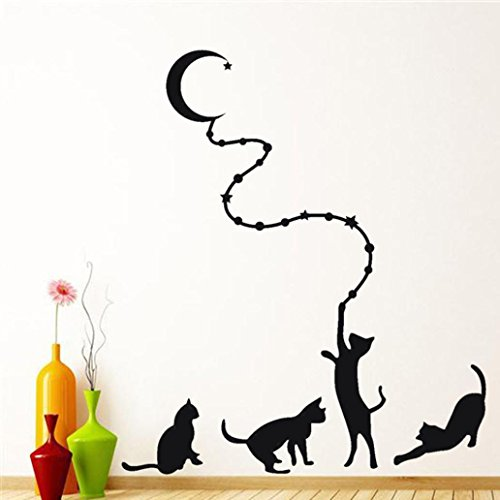 Iusun Funny Removable Black Cat Wall Sticker Home Room Decor