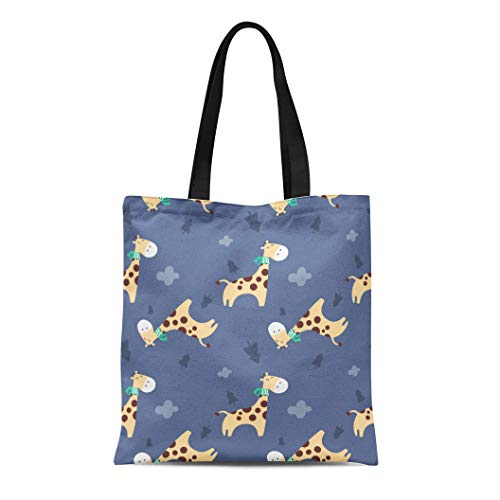 Semtomn Canvas Tote Bag Shoulder Bags Animal of Retro Cute Giraffe for Lunchbox and Flat Women's Handle Shoulder Tote Shopper Handbag