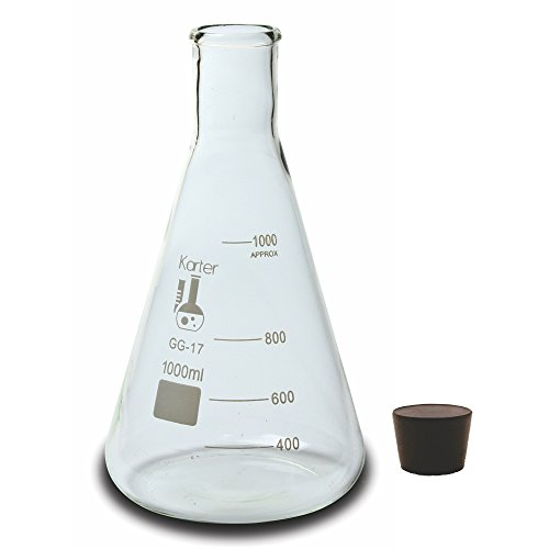 1000ml Narrow Mouth Erlenmeyer Flask with Rubber Stopper, Karter Scientific 213G22 by Karter Scientific