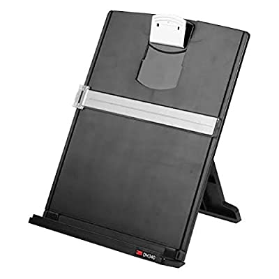 """3M Desktop Document Holder with Adjustable Clip, Holds Letter, Legal and A4 Documents, Bottom Ledge Has Lip to Keep up to 150 Sheets Securely in Place, Folds Flat for Storage, Black (DH340MB),25 1/2"""" x 12"""""""