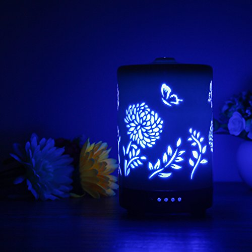 COOSA 100ml Ceramic Flowers and Butterflies Pattern Essential Oil Diffuser, with 4 Time Setting and 7 Color Changing LED Lights Cool Mist Humidifier for Home Office Bedroom Living Room (Pattern 2)