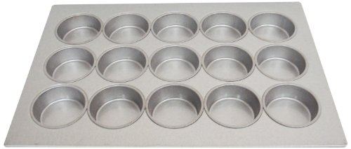 Magna Industries 15362 22-Gauge Aluminized Steel Mini Cake Muffin Pan, 4-1/4 inch Diameter, 3 x 5 Cups Layout (Pack of 6)