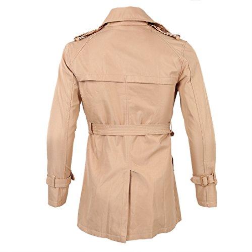 SODIAL(R) Hommes Hiver Mince Double Boutonnage Trench-Coat Veste Longue Pardessus Manteaux Kaki Taille XL/US M