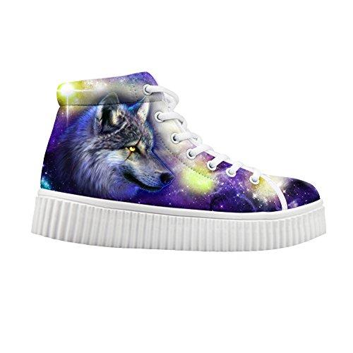 Hugs Idea Moda Colorido Galaxy Mujer Zapatos Plataforma Zapatillas Glaxy Wolf