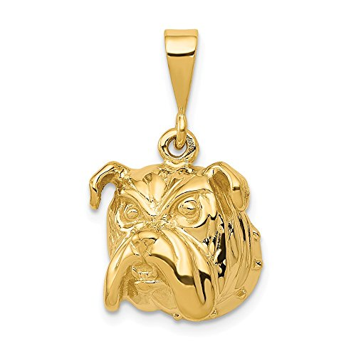 14k Yellow Gold Bulldog Pendant Charm Necklace Animal Dog Fine Jewelry Gifts For Women For Her