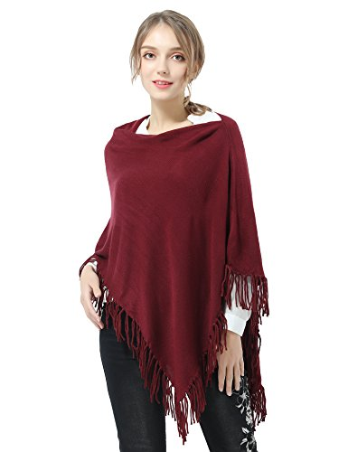 Joulli Women's Knitted Tassel Asymmetric Poncho Wrap Shawl Solid Color Scarf For Casual Business Red,One Size