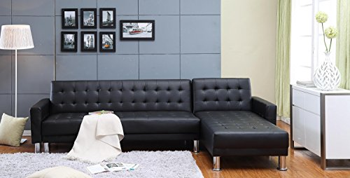 The-HOM 4111A Marsden Tufted Bi-Cast Leather 2-Pieces Sectional Sofa Bed in Black MarsdenCollection