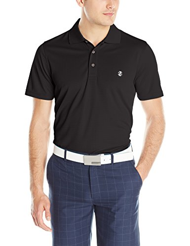 IZOD Men's Performance Golf Grid Polo, Black, Large (Polo Golf Izod)