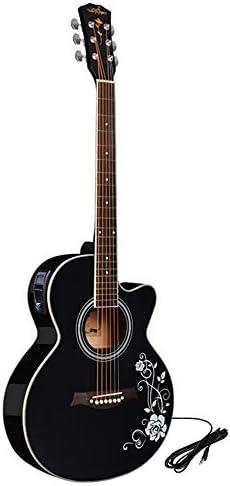 ギター 40インチの初心者フォークアコースティックギター見つからない初心者にはウッドギターインストゥルメント・エレクトリックボックスチューナーアコースティックギター入門します 楽器アクセサリー (Color : Black, Size : A)