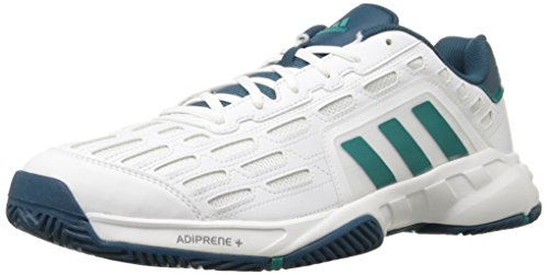 adidas Performance Men's Barricade Court 2 Tennis Shoe,White/Equipment Green/Mineral Blue,9.5 M US (Adidas Tennis Sneakers)