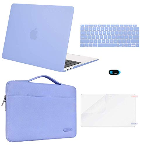 MOSISO MacBook Air 13 inch Case 2019 2018 Release A1932 Retina Display, Plastic Hard Shell & Sleeve Bag & Keyboard Cover & Webcam Cover & Screen Protector Compatible with MacBook Air 13, Serenity Blue