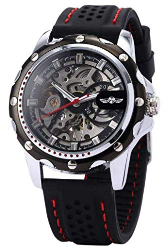 Men's Wrist Watch Classic Steampunk Skeleton Automatic Watch Self-Wind Sport Mechanical Silicone Band