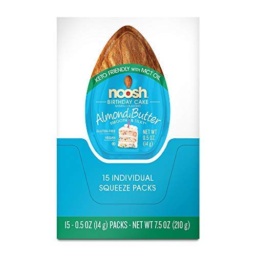 Noosh Keto Friendly With Mct Oil Birthday Cake Single Serve Caddy Almond Butter 14 Gram 15 Count