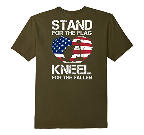 Mens BACK PRINT - Stand For The Flag, Kneel For The Fallen! Tee Large (Green Mnm)