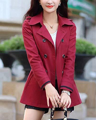 Breasted Rot Giacca Primaverile Puro Double Outerwear Trench Slim Donna Colore Eleganti Lunga Costume Casuali Fit Manica Classiche Cappotto Autunno Bavero Moda TqWRwOI