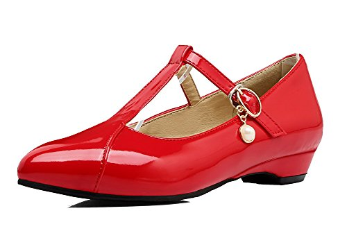 Ballet Fibbia Flats Rosso Puro Donna VogueZone009 Trafilatura wqxvIHUR