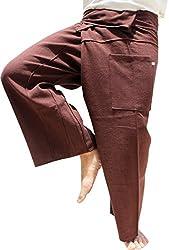 RaanPahMuang Thick Woven Cotton Soft Weave Thai Wrap Fisherman Pijama Pants , Medium, Burnt Umber Brown